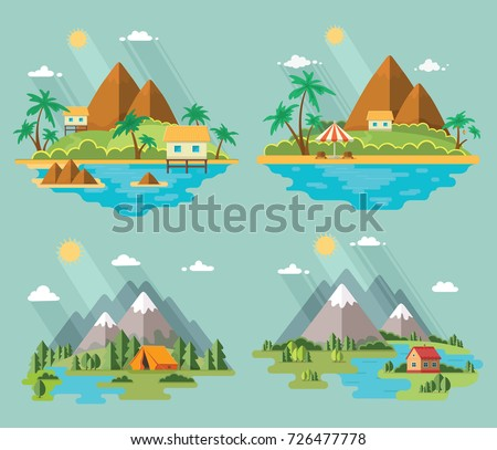 Set of beautiful tropical and mountain scenery of nature for relaxation. Vector flat illustration for a tour operator.