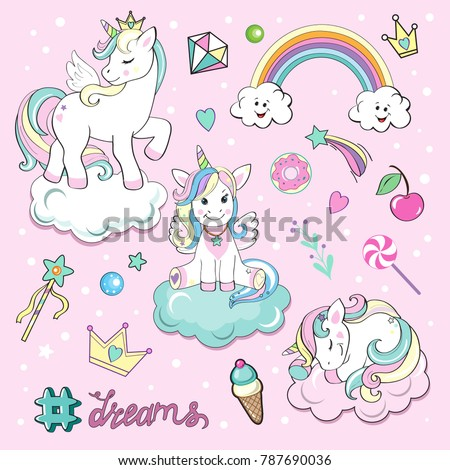 set of beautiful unicorns on