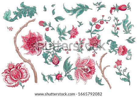 Set of beautiful vector decorative porcelain flowers