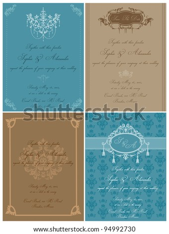 Set of Beautiful Vintage Cards - for wedding, invitation, congratulation in vector