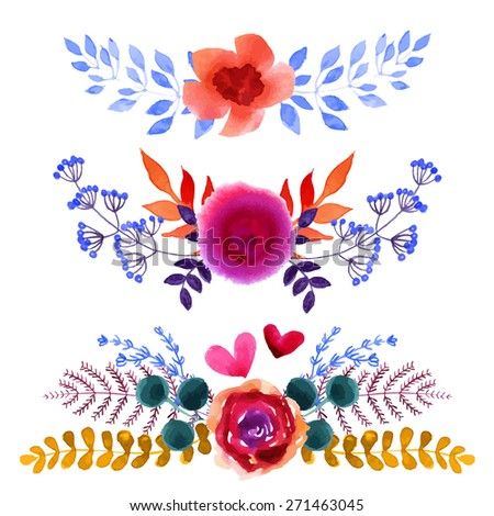 Set of beautiful watercolor flowers and leaves on a white background for your design. For spring cards, invitations for a summer wedding. Lovely floral elements to save the date cards