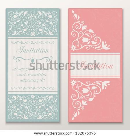 Set of beautiful wedding invitations. Vector illustration EPS 10