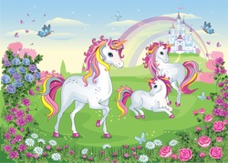 Set of  beautiful white unicorns. Fairytale background with castle, rainbow. Fabulous flower meadow with horse, pony. Wallpaper for girl. Wonderland. Cartoon illustration for children's print. Vector.