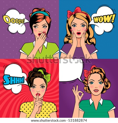 Set of beautiful young women in pop art style with speech bubbles. Vector illustration.