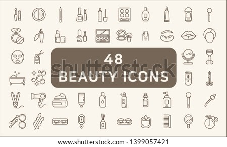 Set of 48 beauty and cosmetic Icons line style.  Contains such Icons as makeup, perfume, hand mirror, comb, candle, eye patch, flavored oil, hairbrush and more.  Customizable color, easily resized.