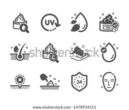 Set of Beauty icons, such as No sun, Skin moisture, Skin care, Vitamin e, Serum oil, Uv protection, Moisturizing cream, Water drop, 24 hours, Cream classic icons. Uv protect, Oil drop. Vector