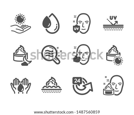 Set of Beauty icons, such as Skin condition, Skin care, 24 hours, Uv protection, Uv protection, Wash hands, Face cream, Oil drop, Sun cream, Healthy face classic icons. Skin condition icon. Vector