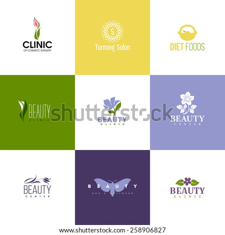 Set of beauty logo templates. Icons of flowers and leaves