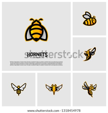 Set of Bee logo design vector. Hornets logo template. Icon symbol