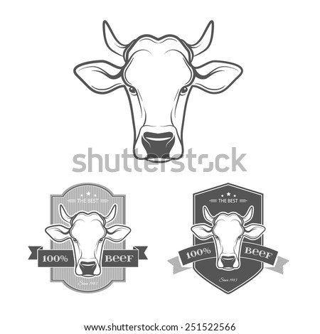 Set of beef and barbecue badges and labels in vintage style. Retro meat labels. Vector illustration.