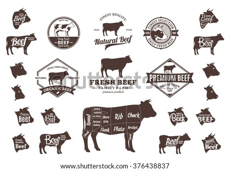 Set of beef logo. Beef cuts diagram