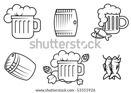 Set of beer and alcohol symbols or logo template. Jpeg version also available in gallery