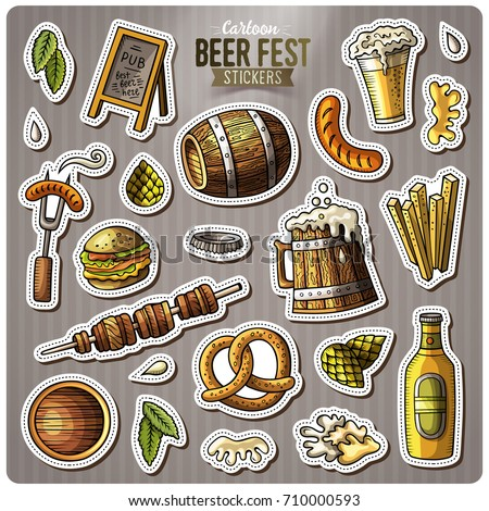 Set of Beer fest cartoon stickers. Vector hand drawn objects and symbols collection. Label design elements. Cute patches, pins, badges series. Comic style.