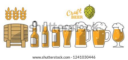 Set of beer glass, mug, barrel, bottle, and hop. Craft beer calligraphy design and minimal flat vector illustration of different types of beers. Oktoberfest equipment. Restaurant illustration