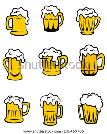 Set of beer glasses for alcohol beverage design, such logo. Jpeg version also available in gallery