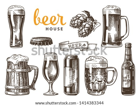 Set of beer glasses, mugs, ribbon, bottle, and hop. Beer house. Vintage vector engraving illustration for web, poster, invitation to party. Hand drawn design element isolated on white background.