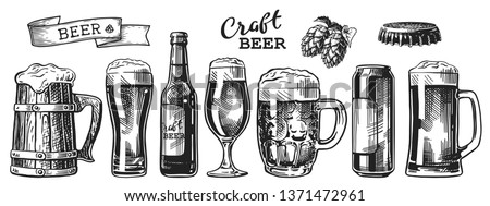 Set of beer glasses, mugs, ribbon, bottle, and hop. Vintage vector engraving illustration for web, poster, invitation to party. Hand drawn design element isolated on white background.