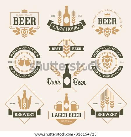 set of  beer labels  emblems