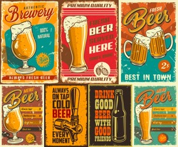 Set of beer poster in vintage style with grunge textures and beer objects. Vector illustration.