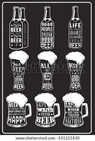 set of beer typography vintage