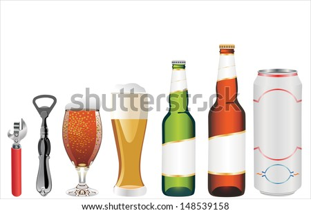 set of beer vector illustration isolated on white background.Bottle of beer,glass,opener,can of beer