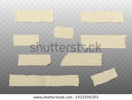 Set of beige adhesive or masking tape pieces with torn edges realistic style, vector illustration isolated on transparent background. Various strips of brown ripped sticky tape