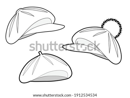 Set of berets of different types. Classic beret, beret with a visor, beret with a pompom and a visor . Isolated outline black and white drawing. Сток-фото ©
