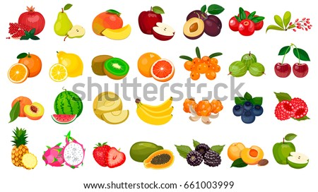 set of berries and fruits on a