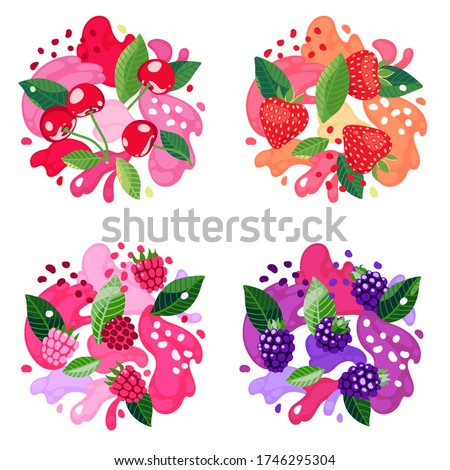 Set of berries on abstract background. Strawberry, raspberry, cherry and blackberry. Vector illustration.