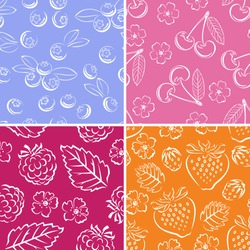 Set of berries seamless patterns. Cherry, raspberry, strawberry, blueberry. Vector monochrome illustration of berries and leaves.