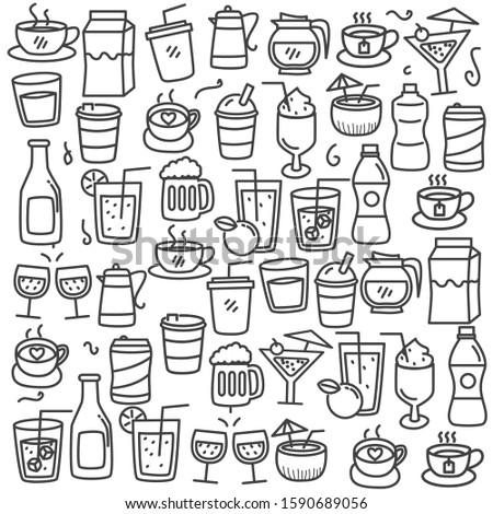 Set of beverage doodle vector illustration with cute design. Beverage doodle background