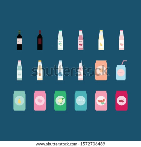 Set of beverages  in bottles and cans flat vector illustrations isolated in a dark background.Wine,soda,lemonade,fruit juices illustrations.