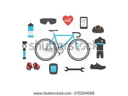 set of bicycle accessories on...
