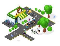 set of bicycle infrastructure. Velo tracks, bicycling, bicycle shop, bike repair, family rest. Isometry 3d