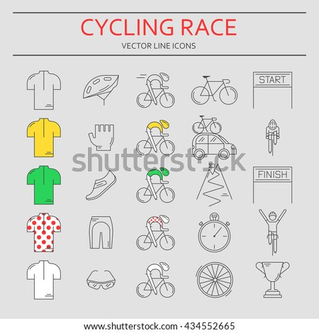 Set of 25 Bicycle Race modern linear icons. Black outline templates of cycling competition isolated on grey. Bicycling championship elements made in trendy thin line style vector.