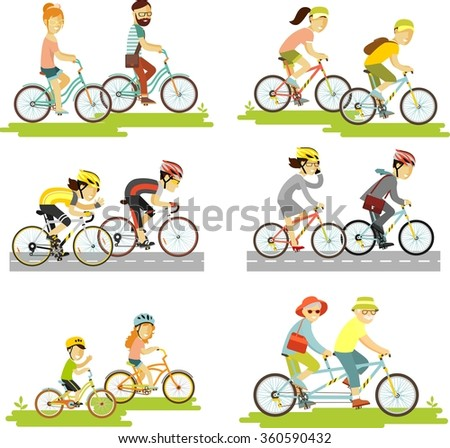 set of bicycle rider couple in...