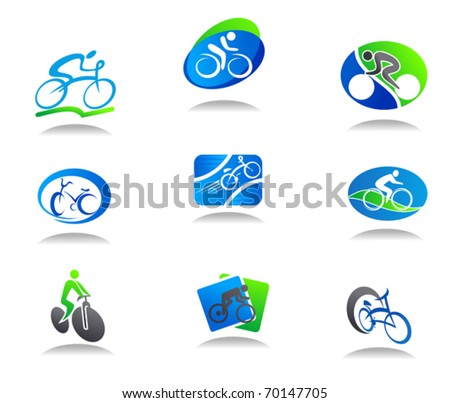 Set of bicycle sport icons for design - also as emblem or logo template. Jpeg version also available in gallery - stock vector