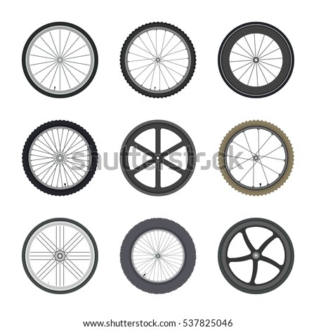 set of bicycle wheels in flat