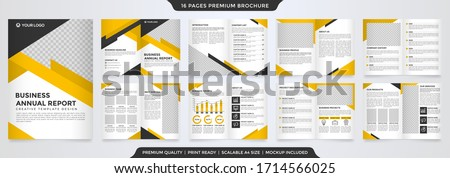set of bifold business brochure template with modern concept and minimalist style use for business profile and annual report