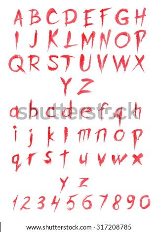 set of big and small letters