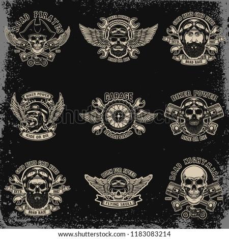 Set of biker emblems. Racer skull with crossed pistons. Extreme motorsport. Design elements for logo, label, emblem, sign. Vector illustration