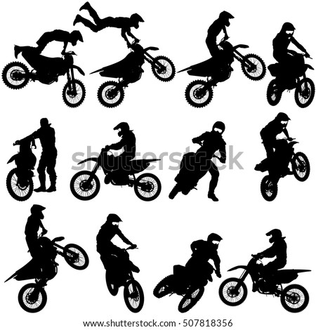 set of biker motocross