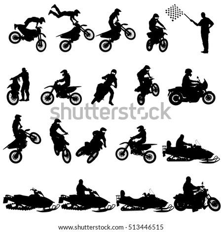 set of biker motocross