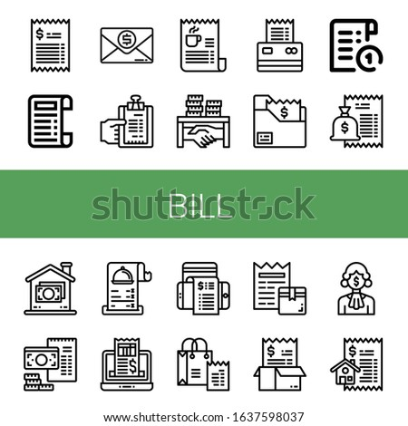 Set of bill icons. Such as Bill, Receipt, Invoice, Corruption, Money , bill icons