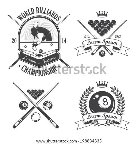 set of billiards emblems labels