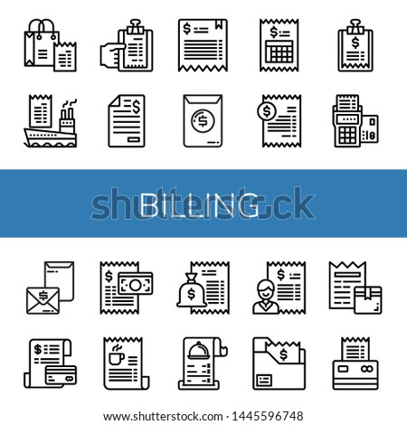 Set of billing icons such as Bill, Invoice, Receipt , billing