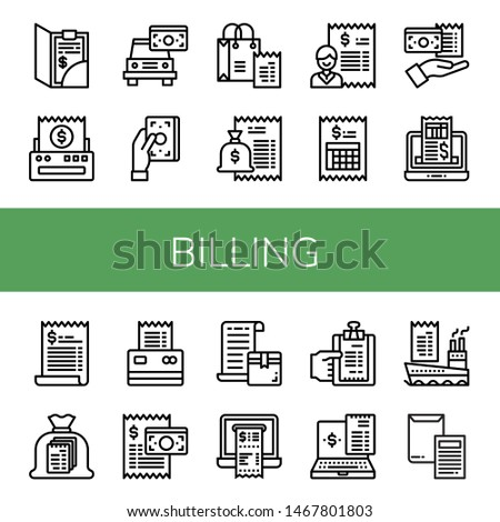 Set of billing icons such as Bill, Receipt, Invoice , billing