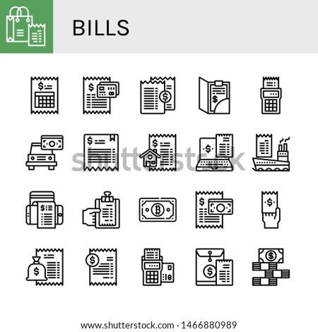 Set of bills icons such as Bill, Dollar bills , bills