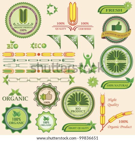 Set of bio and organic badges and labels of quality. Vector illustration