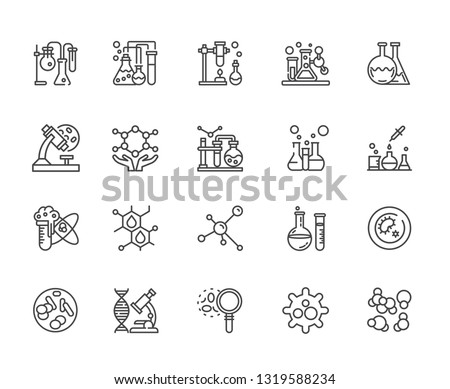Set of biomaterials Related Vector Line Icons. Includes such Icons as Nature, biology, plants, flasks, science, bioengineering, progress, DNA, experiments, medicine, vaccine, scientist, sample